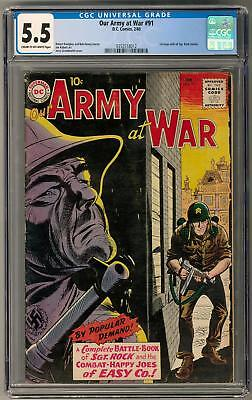 Our Army at War #91 CGC 5.5 (C-OW) 1st issue with all Sgt Rock stories