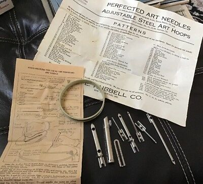 Antique Hubbell Perfected Art Needles & Instructions French Embroidery