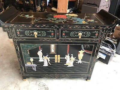 Oriental Chinese Furniture Black Lacquer Cabinet Asian