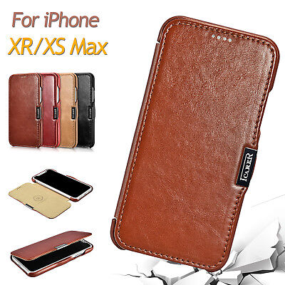 Luxury ICARER Vintage Genuine Leather Folio Cover Case for iPhone XS Max/XR/X 10