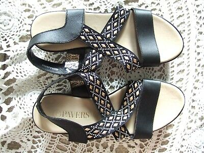 dae40c96a7bb PAVERS BLACK LEATHER Wedge Sandals Jewel Detail Size 5 (38) New ...
