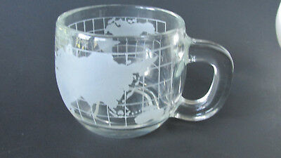 Vintage 1970's Nestle Nescafe Glass World Globe Map Coffee Mug ~ Never Used #1