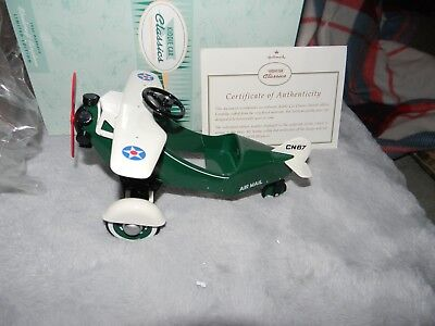 New Hallmark Kiddie Car Classic1935 Murray Steelcraft Airplane Green Plane MIB