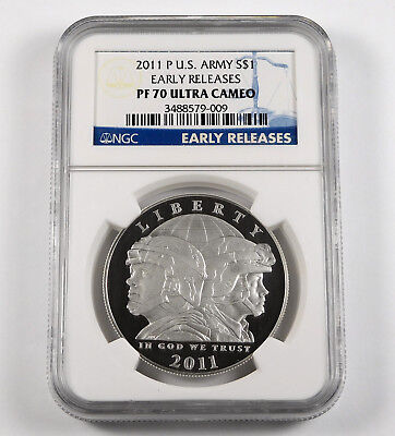 2011-P U.S. Army Commemorative .900 Silver Dollar - NGC PF 70 - Early Releases