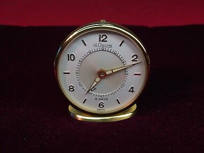 Vintage Gold Plated Jaeger LeCoultre 8 Day Travel Alarm Clock Beauty!