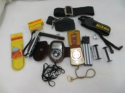 Mixed Lot of Vintage Film & Accessories: Meter, Wire Release, Tripod, Straps ++