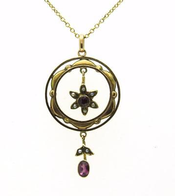 Antique Edwardian Real Garnet & Seed Pearl 9Ct Pendant & Chain All Original