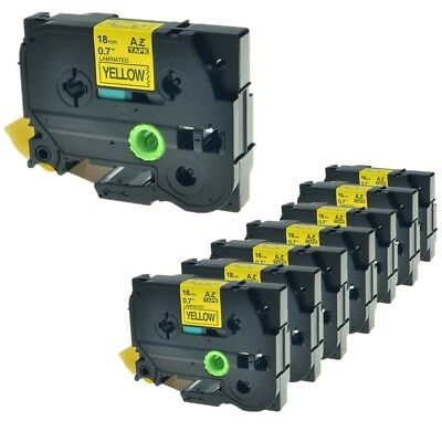 """8PK Black on Yellow Label Tape TZ641 TZe641 For Brother P-touch PT-2610 3/4"""""""