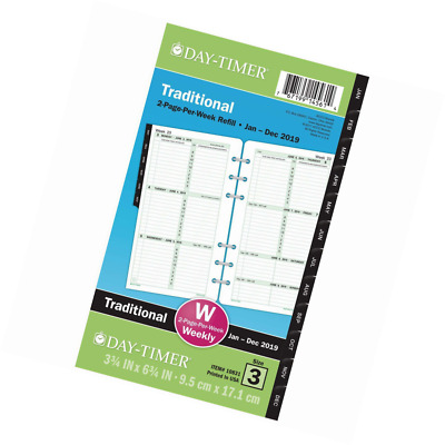 """Day-Timer Refill 2019, Two Page per Week, January - December, 3-3/4"""" x 6-3/4"""", L"""