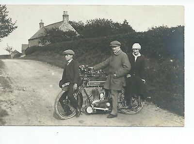 Real photo postcard of an early Sunbeam motorcycle  in vgc  Reg BE1937