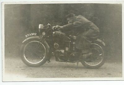 Real photo postcard of a 40's 50's motorcycle very good condition reg dya 982