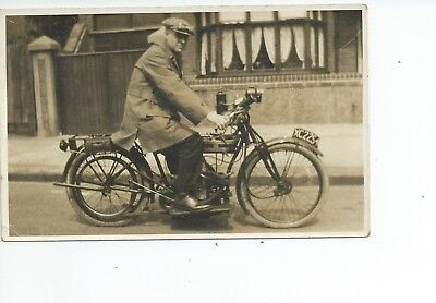 2nd Real photo postcard of an early motorcycle  in very  good condition