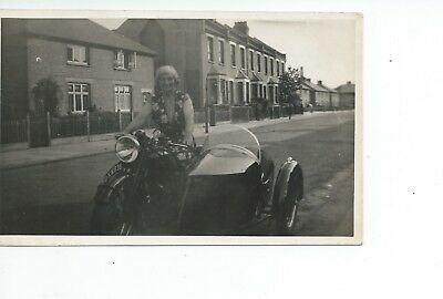 Real photo postcard of a motorcycle and sidecar DXW935  in vgc