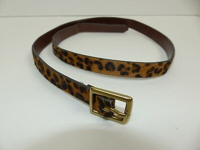 Merona Target Women's Small Genuine Leather Leopard Animal Print Thin Belt
