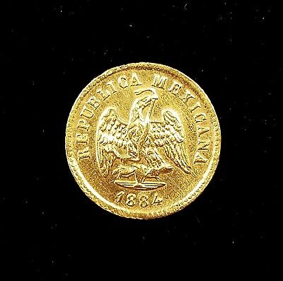 1844 Mo 1 Peso gold coin from Mexico! Sharp details! NO RESERVE!