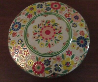 Vintage Round Metal Tin Embossed Flowers Made In Holland EMPTY