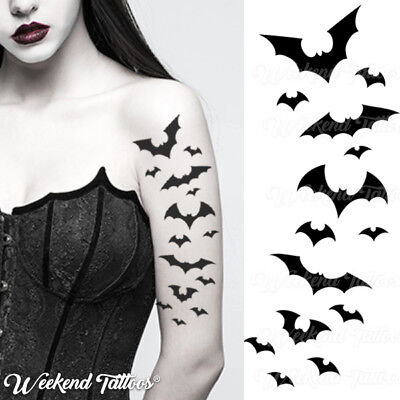 Bat Halloween Temporary Tattoos Black Flying Vampire Bats Women Men Adults Kids