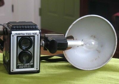 1950s Spartus Full-Vue 120 Twin Lens Reflex Camera w/ Flash Attachment