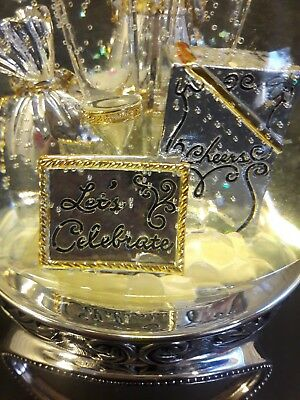 "Musical Snow Globe Holidays Birthday Anniversary ""Fly Me To Moon"" Monogram plate"