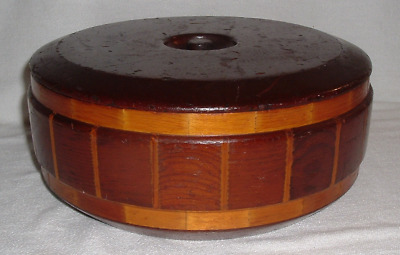 AntQ RED WOOD INLAID TRINKET SEWING BOX w LID *Standard Speciality San Francisco