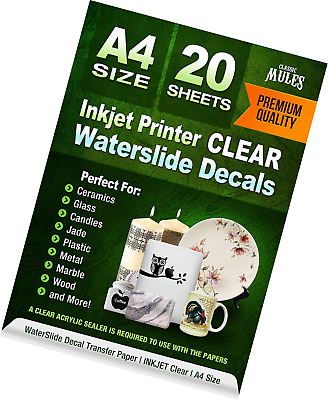 Premium Waterslide Decal Paper Inkjet CLEAR - 20 Sheets - Water Slide Transfer T