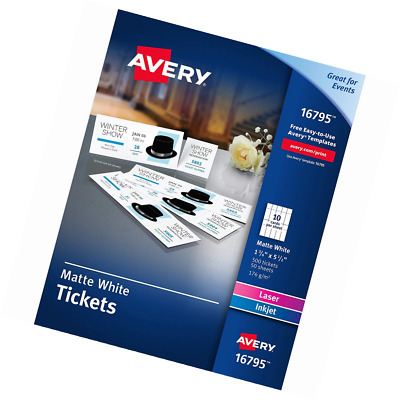 Avery Matte White Printable Tickets With Tear Away Stubs 1 3 4 X 5 1