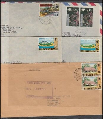 GILBERT ISLANDS 1976-7 GROUP COMMERCIAL AIRMAIL COVERS (x5)