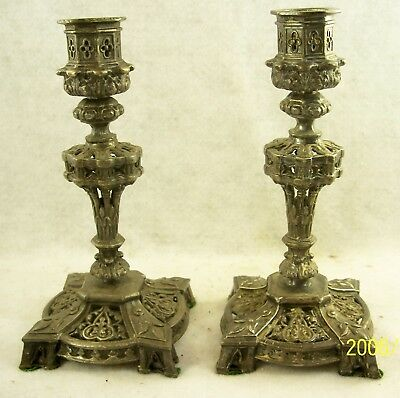 Pair of Antique 19th C Meriden B. Company Silverplate Candlesticks. - Very Fancy