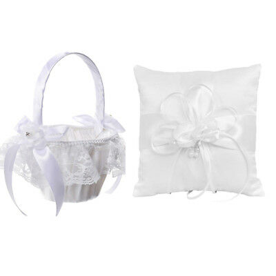 Wedding Flower Girl Basket Ring Pillow Set Ring Bearer Pillow Cushion Decor