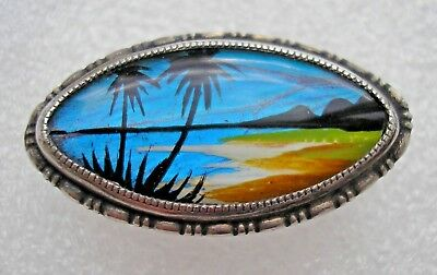 Pretty vintage Art Deco Silver brooch with Butterfly wing beach palm trees TLM