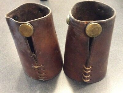 Vintage Maker Marked H. H. Heiser Boys Roping Riding Cuffs With A Steer