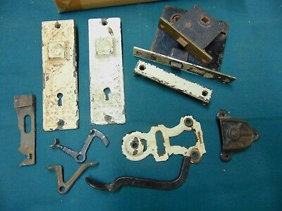Antique victorian Cast Iron door hardware, Plates,lock housing & hardware parts