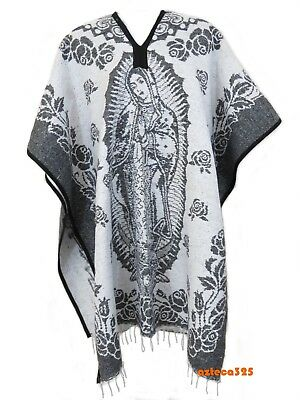 MEXICAN PONCHO , VIRGEN DE GUADALUPE ,Blanket Gaban ,One Size Fits All , GRAY