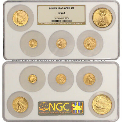 Set of 5 1873-1927 Gold Indian Heads NGC MS63 St. Gaudens $1 $2.50 $5 $10 $20