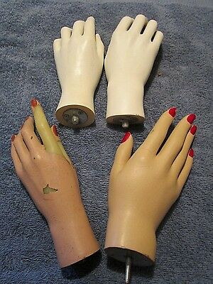 Vintage Female Mannequin Hands (4) Great for Jewelry Display or Mannequin Use