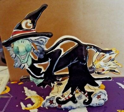 """Blue Sky Clayworks Halloween by Heather Goldminc """"Grisella the Witch"""" Ceramic"""