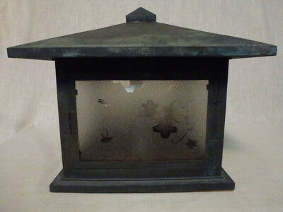 Vintage Japanese Metal Lantern with Glass Panels