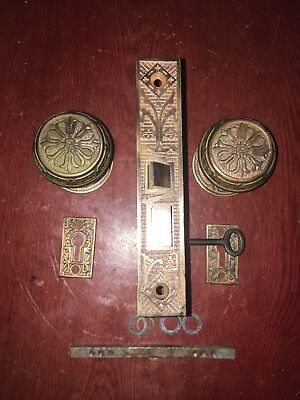 Antique Victorian Brass Reading Hardware Eastlake Lockset With Skeleton Key