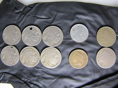 Lot Of 10 United States Coins 1863 Penny +6x Buffalo Nickel, 2x Liberty Head