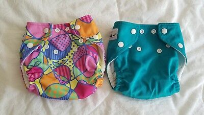 TWO (2) Fuzzibunz Baby Pocket Cloth Diapers - Size small with inserts (7-18 lbs)