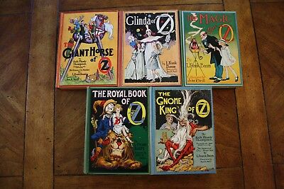 Lot of 5 Antique Wizard of Oz Hardback Books by L. Frank Baum - Reilly & Lee