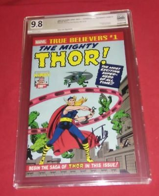 True Believers The Mighty Thor 1 Pgx Ss 9.8 Stan Lee 1St Thor Homage Not Cgc