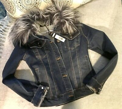 Max Jeans Women's Size M Washed Blue Denim Jacket Faux Fur Removable Collar NWT