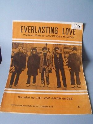 VINTAGE SHEET MUSIC ~~ THE LOVE AFFAIR  ~~ EVERLASTING LOVE ~ 1960's
