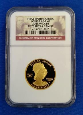 "2008-W GOLD $10 1/2 oz First Spouse ""LOUISA ADAMS"" NGC PF70 Ultra Cameo L2492"