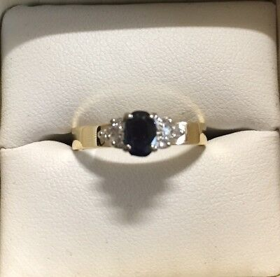 Genuine 18ct gold with Natural Royal Blue Sapphire & diamond cluster ring