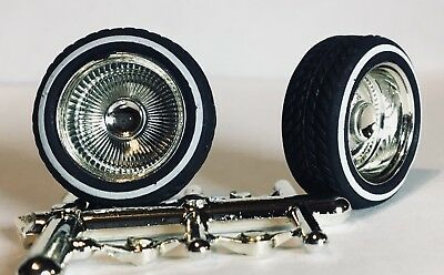 Lowrider Model Wheels & Tires Set Chrome with Whitewalls (LW 1)
