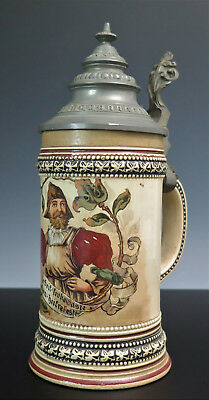 ANTIQUE GERMAN CERAMIC BEER STEIN HAND PAINTED 1/4 Liter
