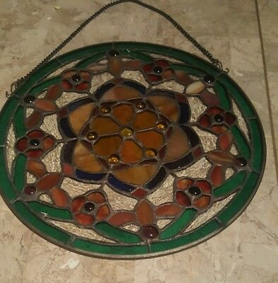 "Vintage Round Stained Glass With Flowers~Ready To Hang~12"" Circumference"