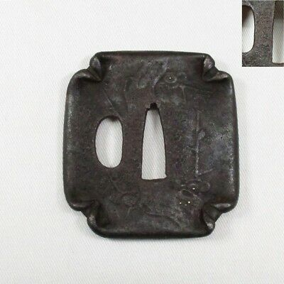 G351: Real old iron Japanese sword guard TSUBA of unusual square form with sign